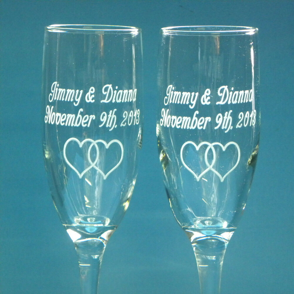 2 Personalized Wedding Glasses Engraved Champagne Wine