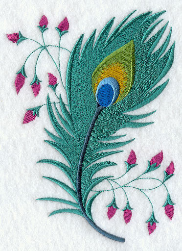 Peacock Feather Set Of 2 Bath Hand Towels Embroidered By