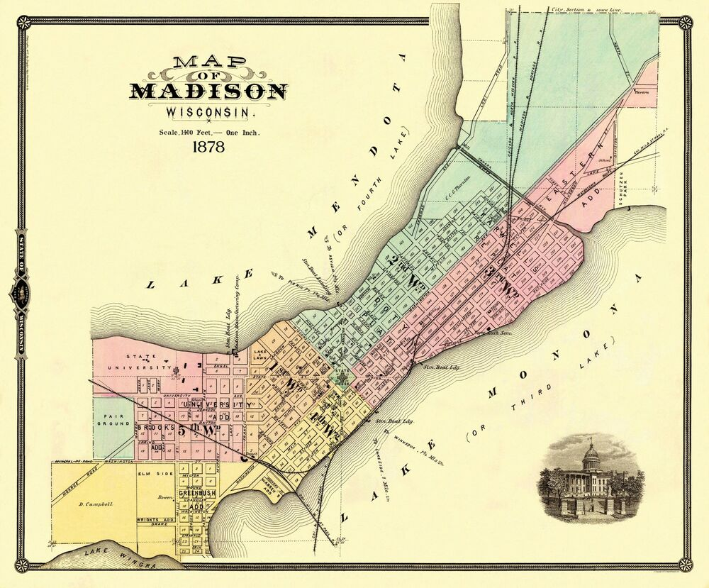 Old City Map  Madison Wisconsin  1878  2775 X 23  EBay