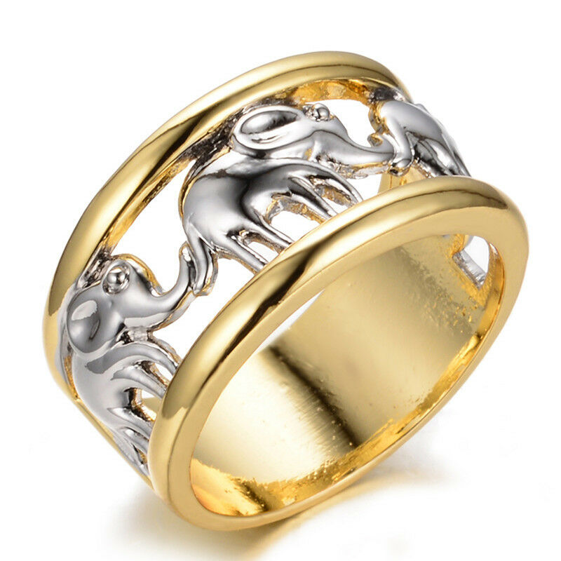 silver lucky elephant wedding ring 10kt yellow gold filled