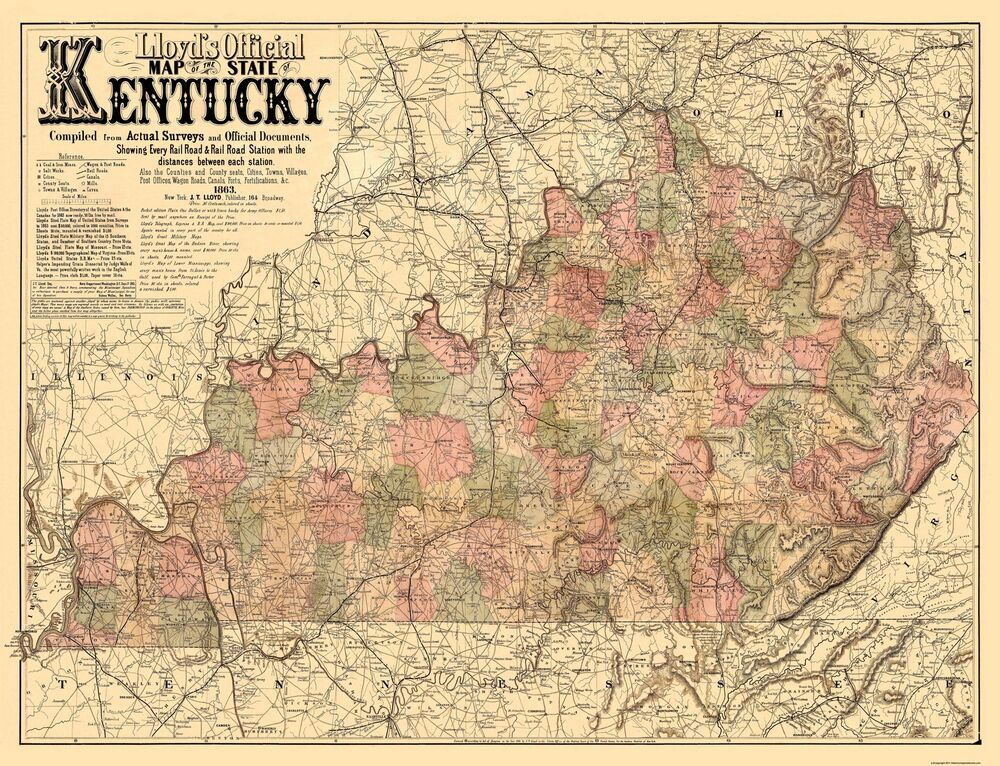 Old State Map Kentucky Lloyd 1862 30 X 23 Ebay