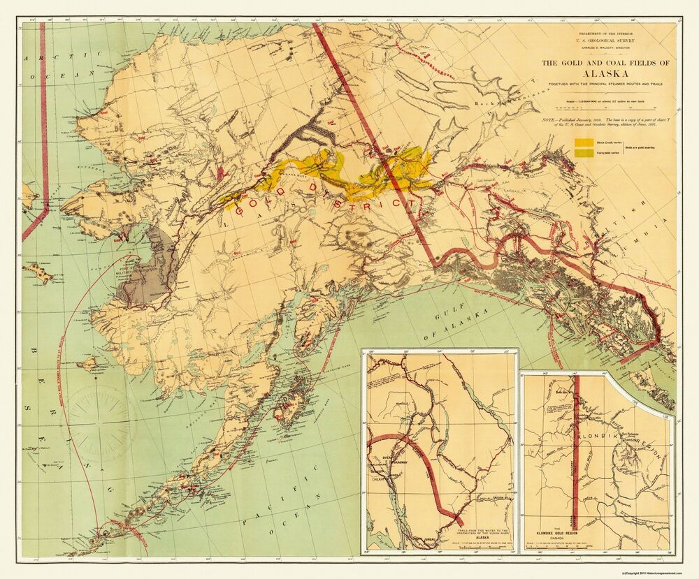 Old Mining Map Gold And Coal Fields Alaska 1898 27