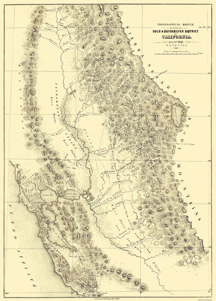 Map, Gold Mines and Mining, California   Library of Congress