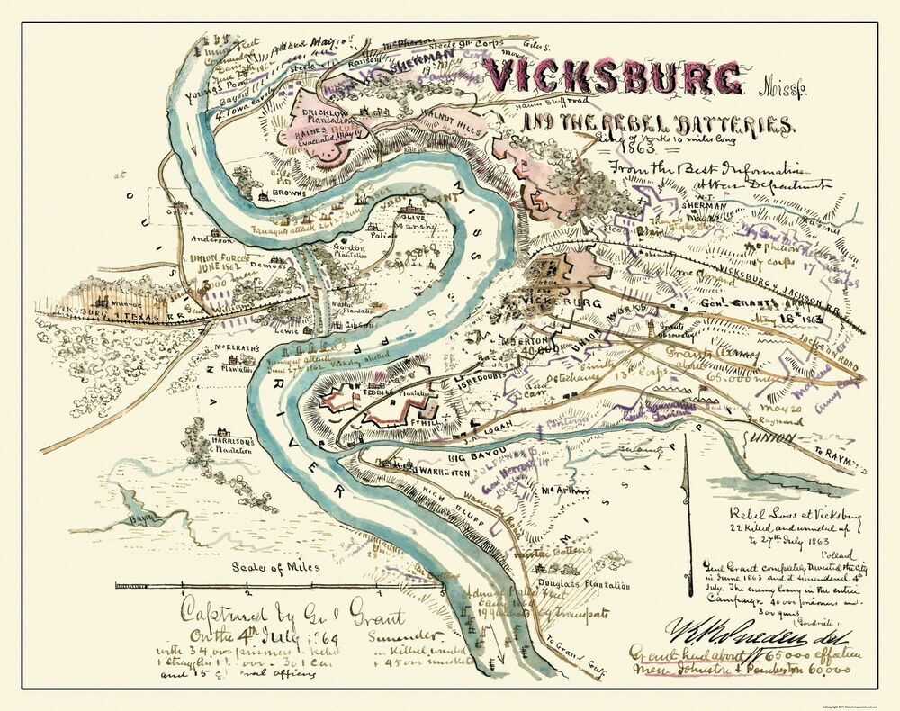 civil war battle at vicksburg Lc civil war maps (2nd ed), s120, 285  reproduced with only minor changes from a map of the siege of vicksburg,  [general view of battle ground, vicksburg,.
