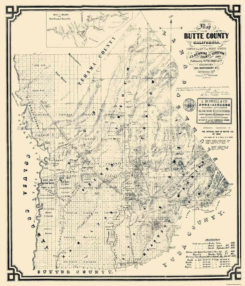 Old County Map - Butte California Landowner - Cooke 1862 ...