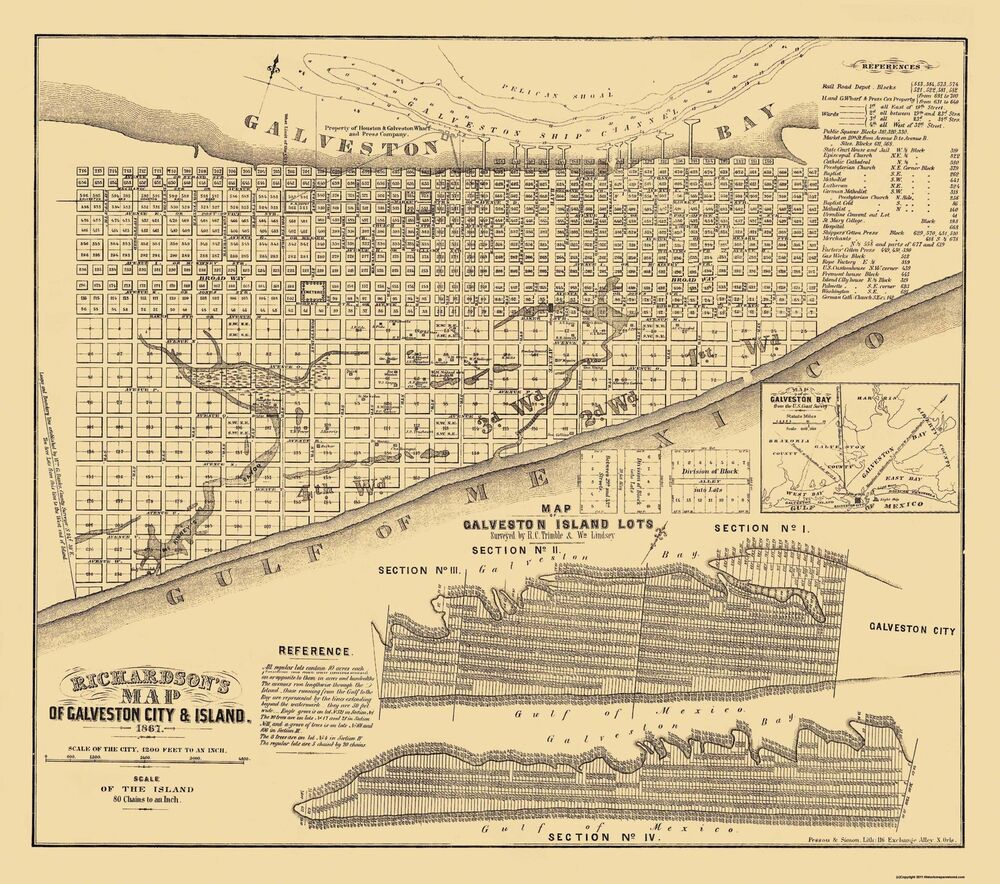 Map Of Texas Cities Some Of The Cities I Ve: Old City Map - Galveston Texas - Trimble 1867 - 26 X 23