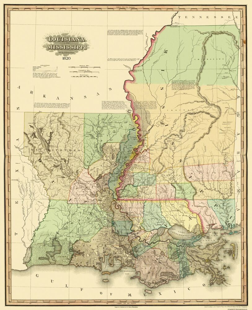 Old State Map  Louisiana Mississippi  1820  23 X 2825