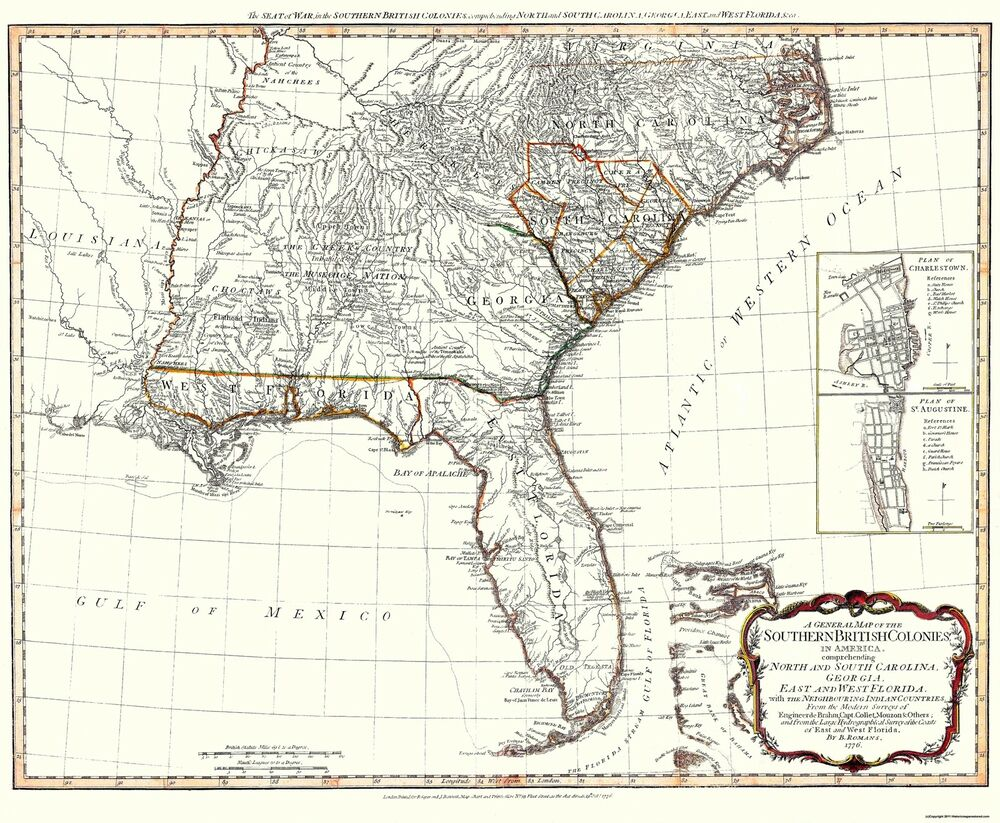 Old north america map southern british colonies 1776 for International decor outlet darien georgia
