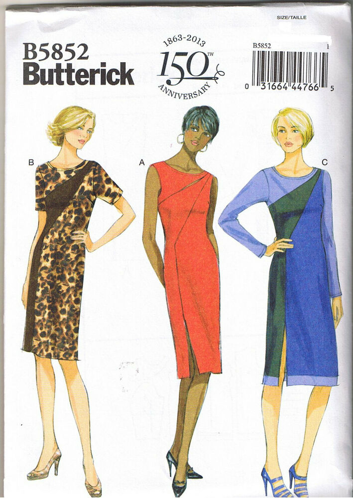 Fitted Asymmetrical Color Block Dress Butterick Sewing