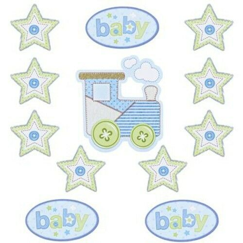 12 baby boy decorative cutouts trains stars shower for Baby shower decoration cutouts