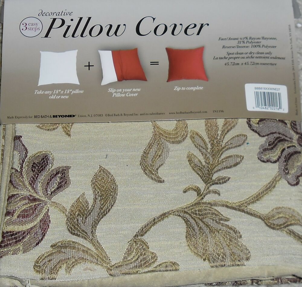Throw Pillow Covers Bed Bath Beyond : BED BATH & BEYOND DECORATIVE PILLOW COVERS BEIGE WINE FLOWER EMBROIDERED BB&B eBay