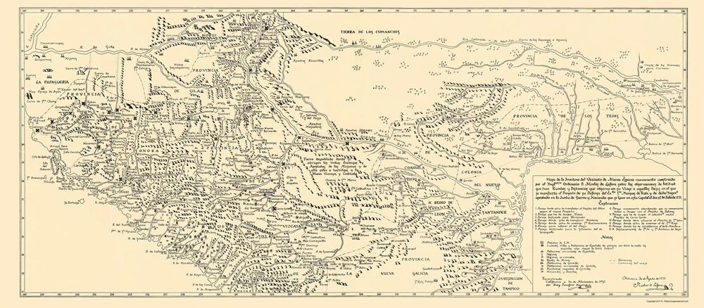 Old North America Map - New Spain of Mexico and Texas - De Lafora ...
