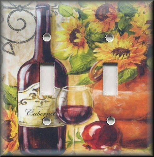 Light switch plate cover tuscan sunflowers red wine for Sunflower home decor