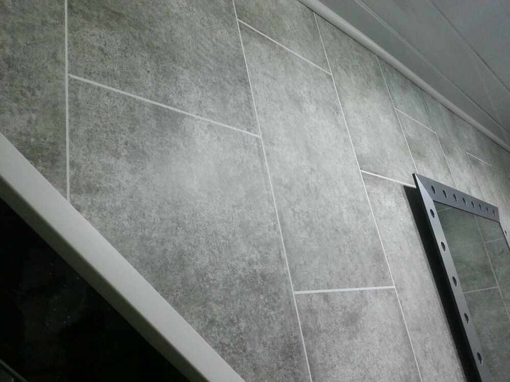 7 Grey Tile Effect PVC Bathroom Wall Panels Interior
