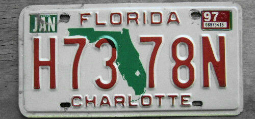 1997 florida license plate h73 78n ebay for Purchase florida fishing license