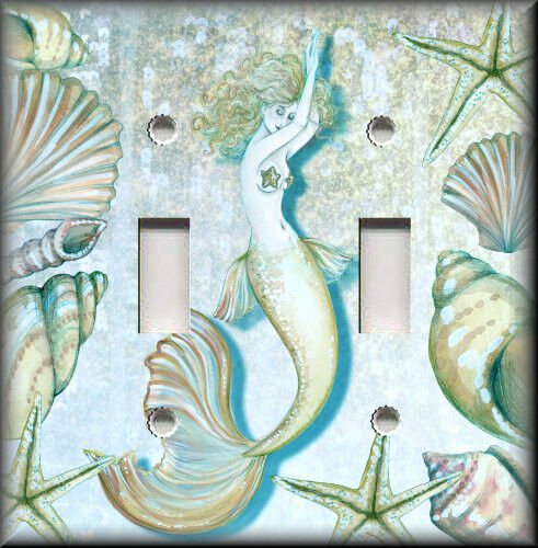 Beach light switch plate cover tranquil mermaid coastal home decor bathroom ebay - Mermaid decor bathroom ...