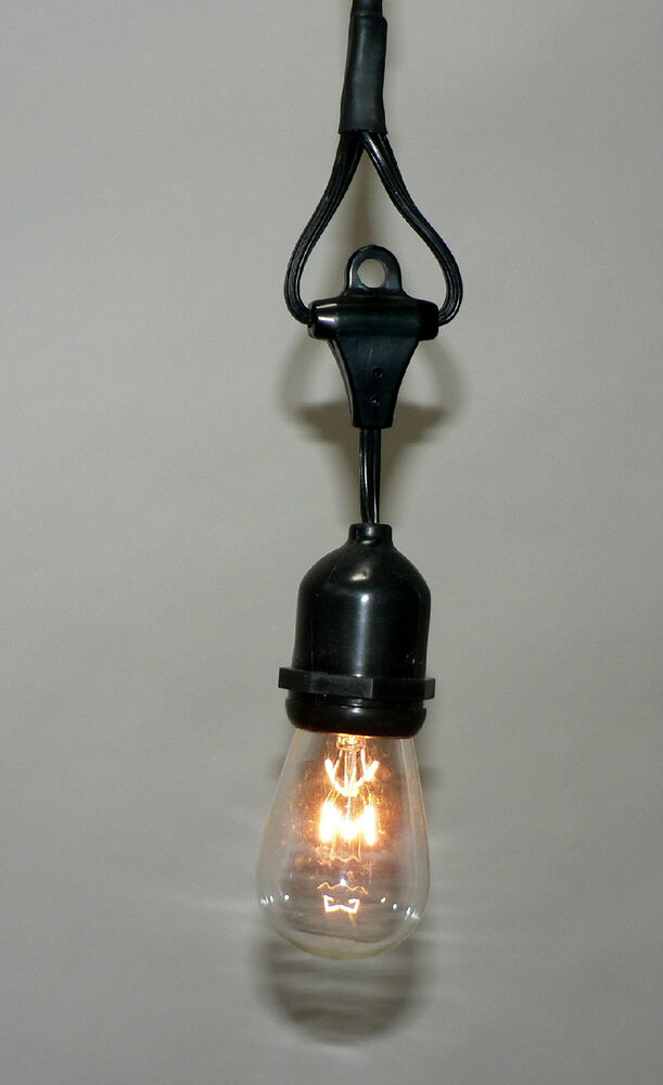 1 Bulb Vintage Patio String Lights Black Cord Clear Glass Edison Bulbs 6.5 eBay