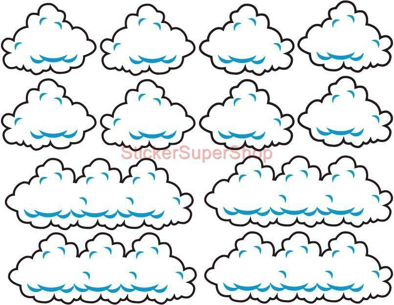 Super Mario Bros Clouds Set Decal Removable Wall Sticker