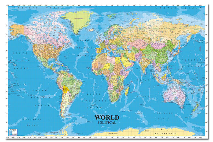world political map 36 x 24 inch wall chart poster new