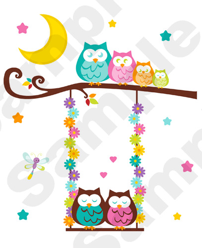 Owl tree swing wall mural decals baby girl nursery kids for Baby mural stickers