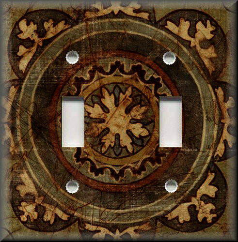 Light Switch Plate Cover Tuscan Distressed Medallion Brown Home Decor Ebay