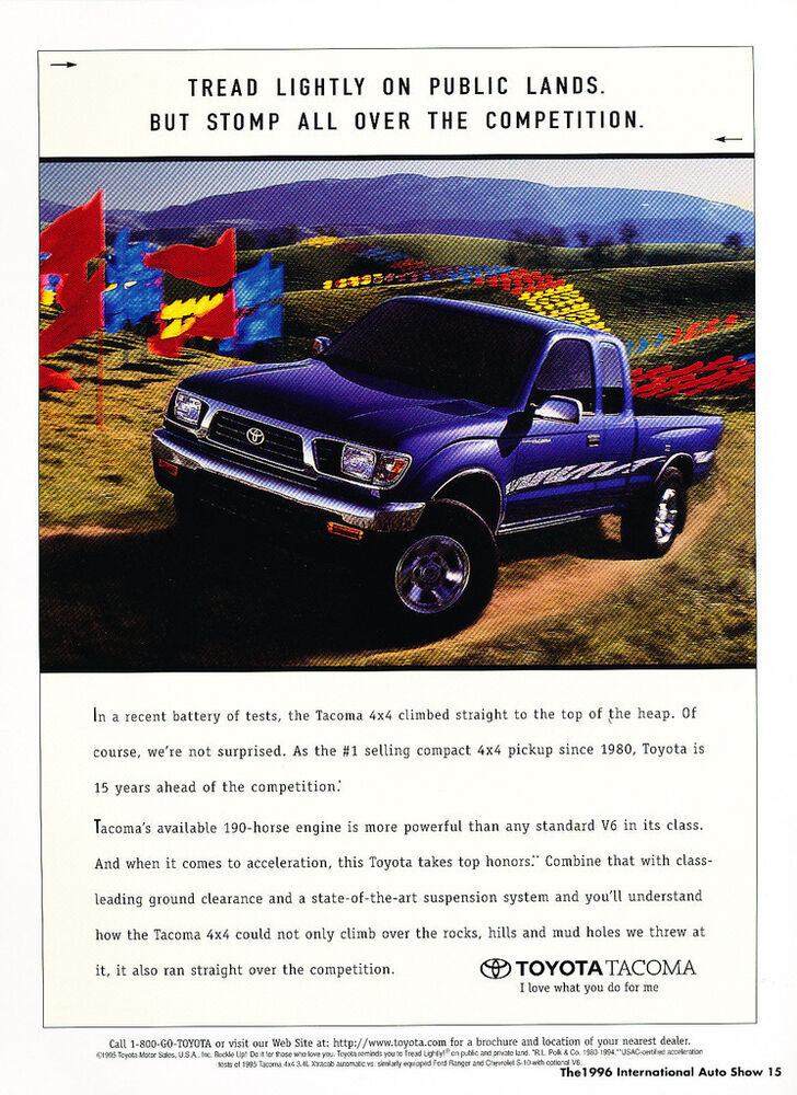 1996 Toyota Tacoma 4x4 Truck 190hp - Classic Car Advertisement Print Ad J72 | eBay