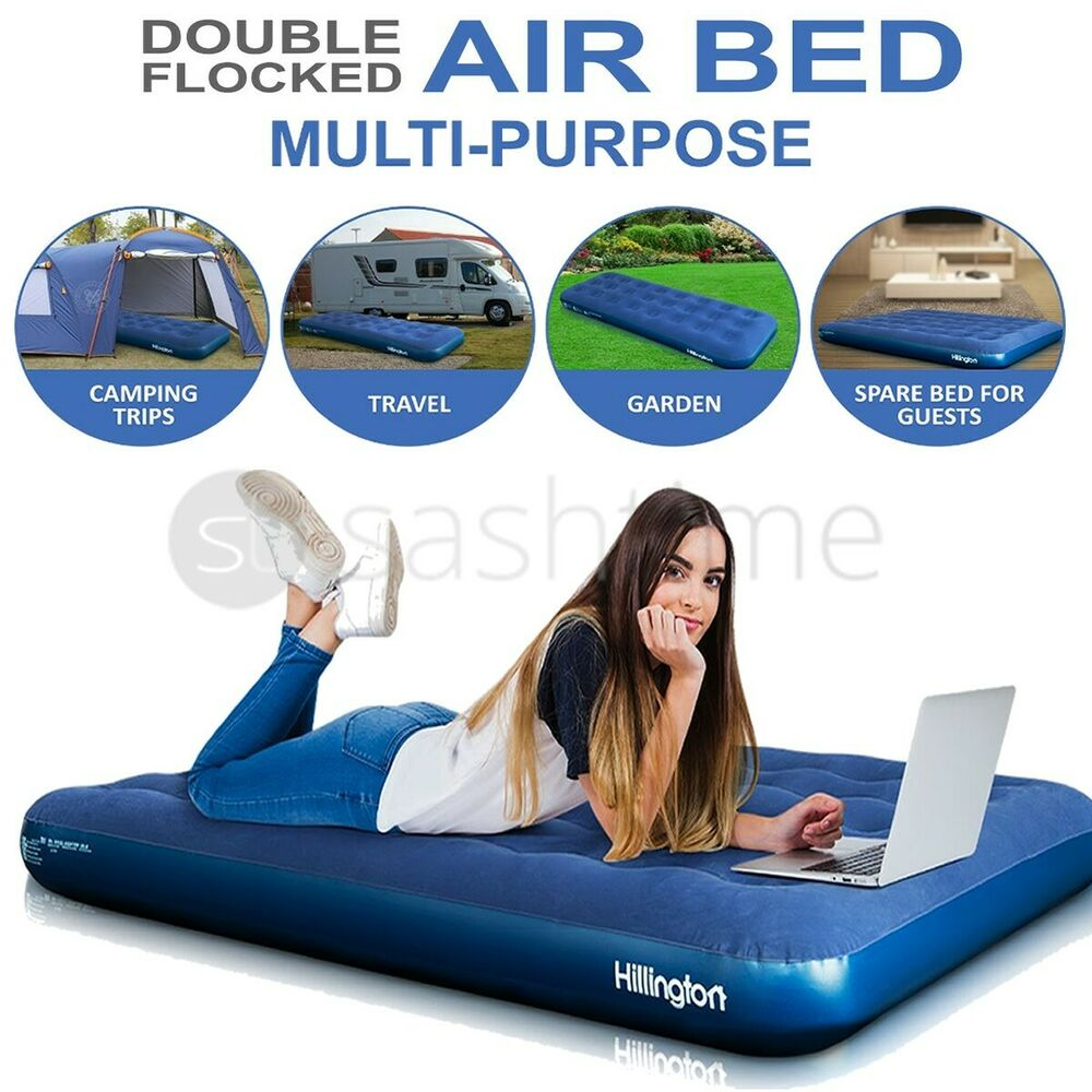 NEW INFLATABLE DOUBLE FLOCKED AIR BED AIRBED MATTRESS ...