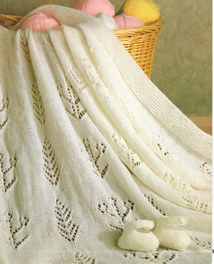 Knit Baby Blanket Pattern Easy Free : Baby Shawl & Bootees 4 ply~ Eyelet Trees & Flowers ~ Knitting Pattern...