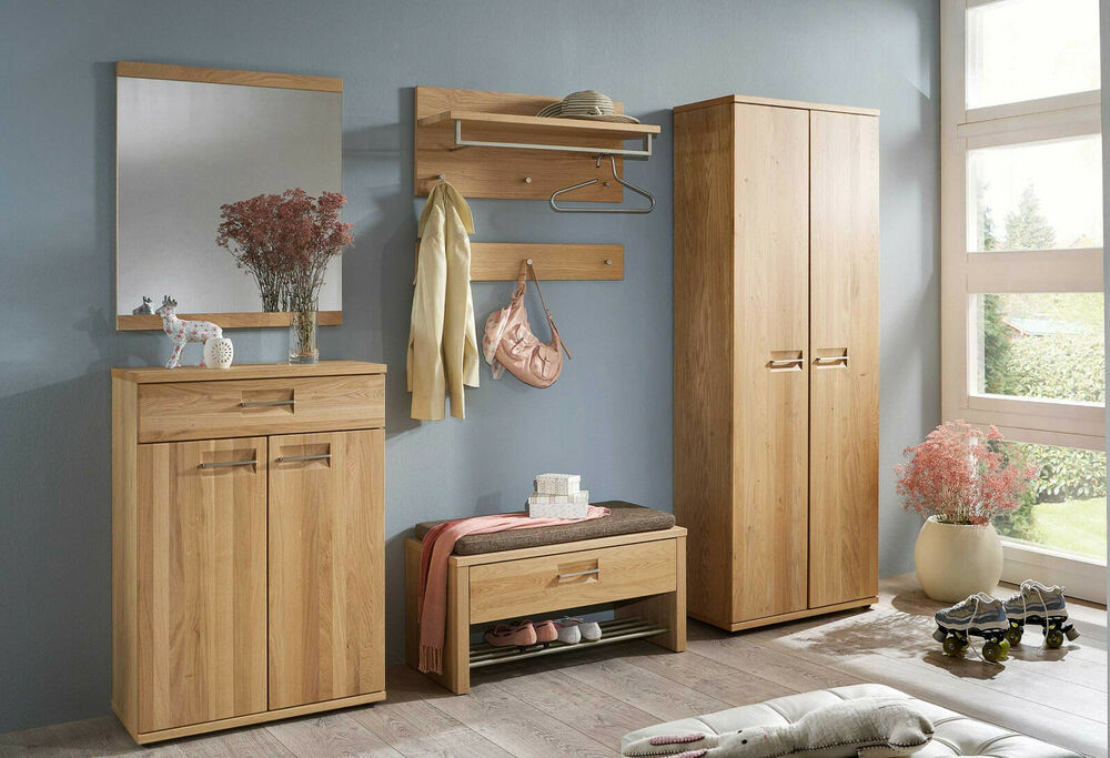 garderobe montana set 2 voss flur wildeiche teilmassiv dielenm bel ebay. Black Bedroom Furniture Sets. Home Design Ideas