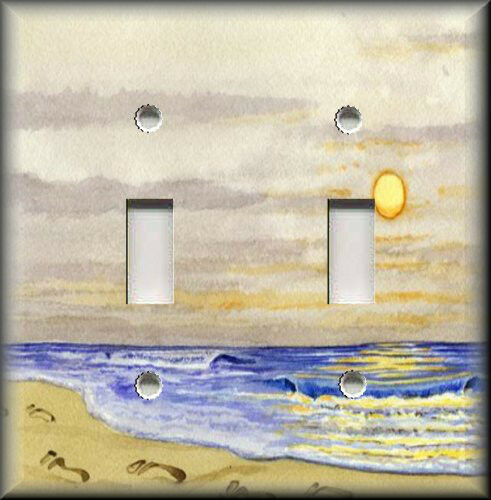Light switch plate cover tranquil beach footprints in for Beach house decor items