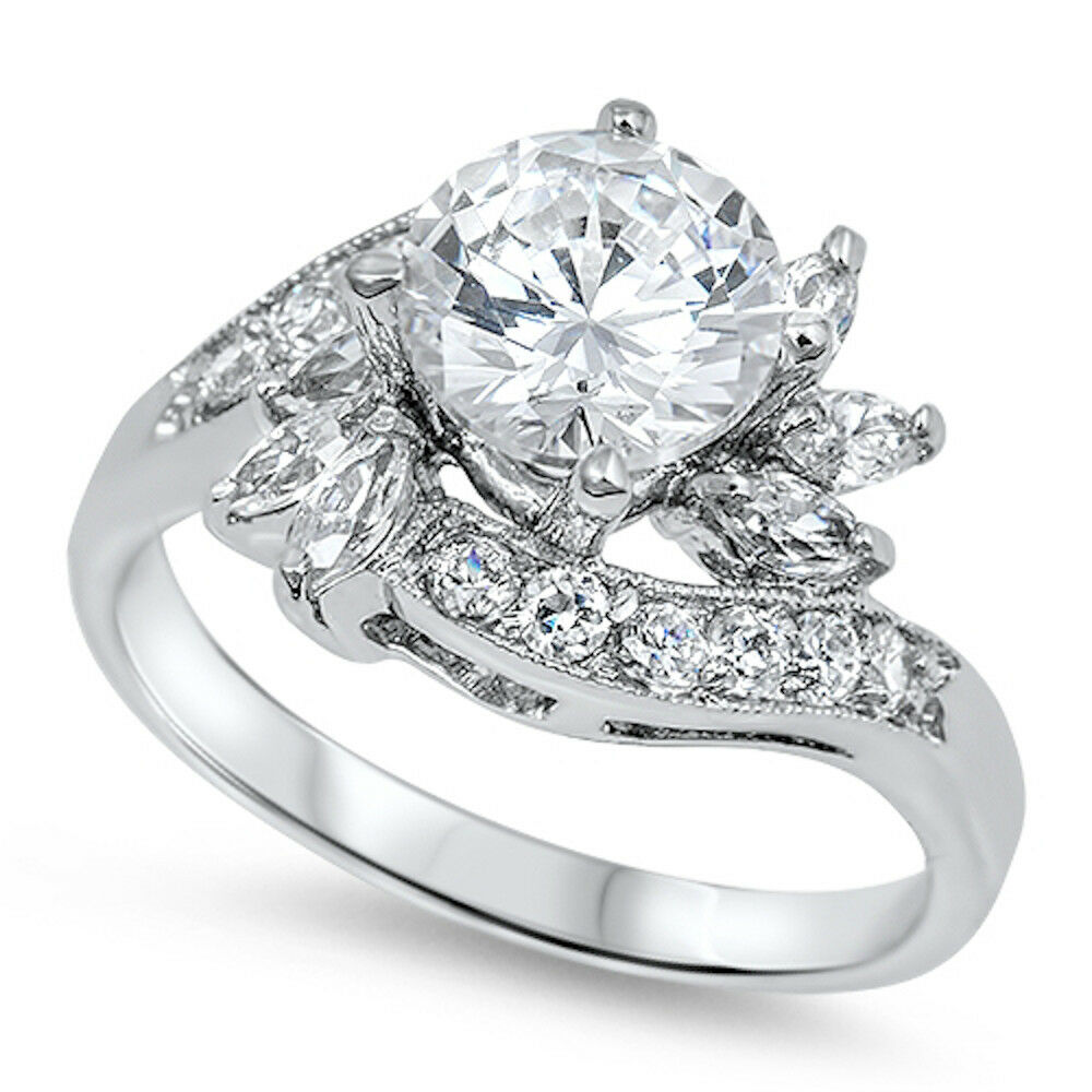 BEAUTIFUL HIGH END RUSSIAN CZ ENGAGEMENT 925 Sterling Silver Ring Sizes 6 10