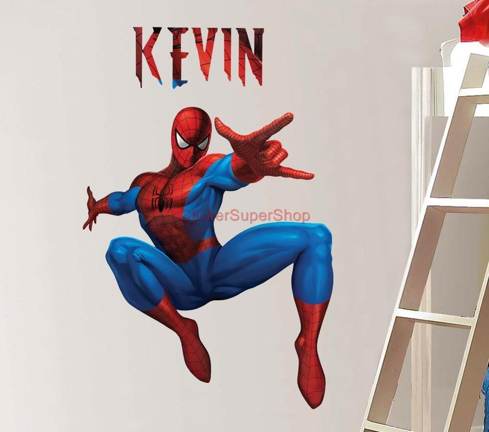 Personalized spiderman decal removable wall sticker home for Home wall sticker decorations
