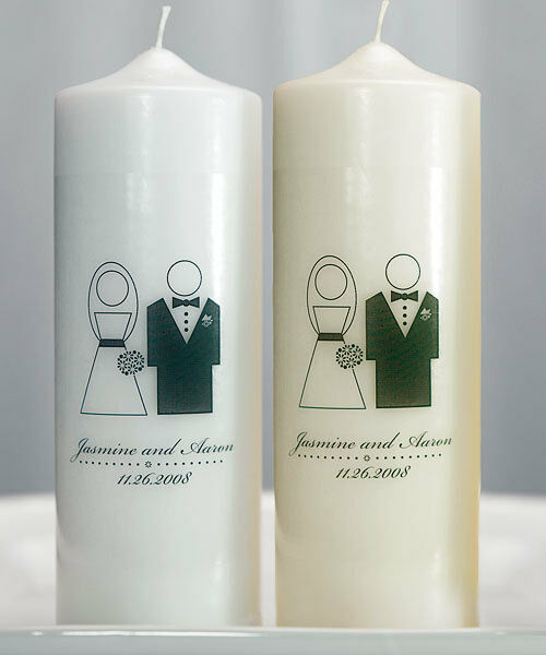 Candlelight Wedding Ceremony: Bride And Groom Couple Personalized Unity Candle Ceremony