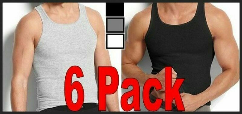 fc6dceb035bc7a 6 Quality Mens 100% Cotton A-Shirts Wife Beaters Ribbed Tank Tops Pack  S~XXXL