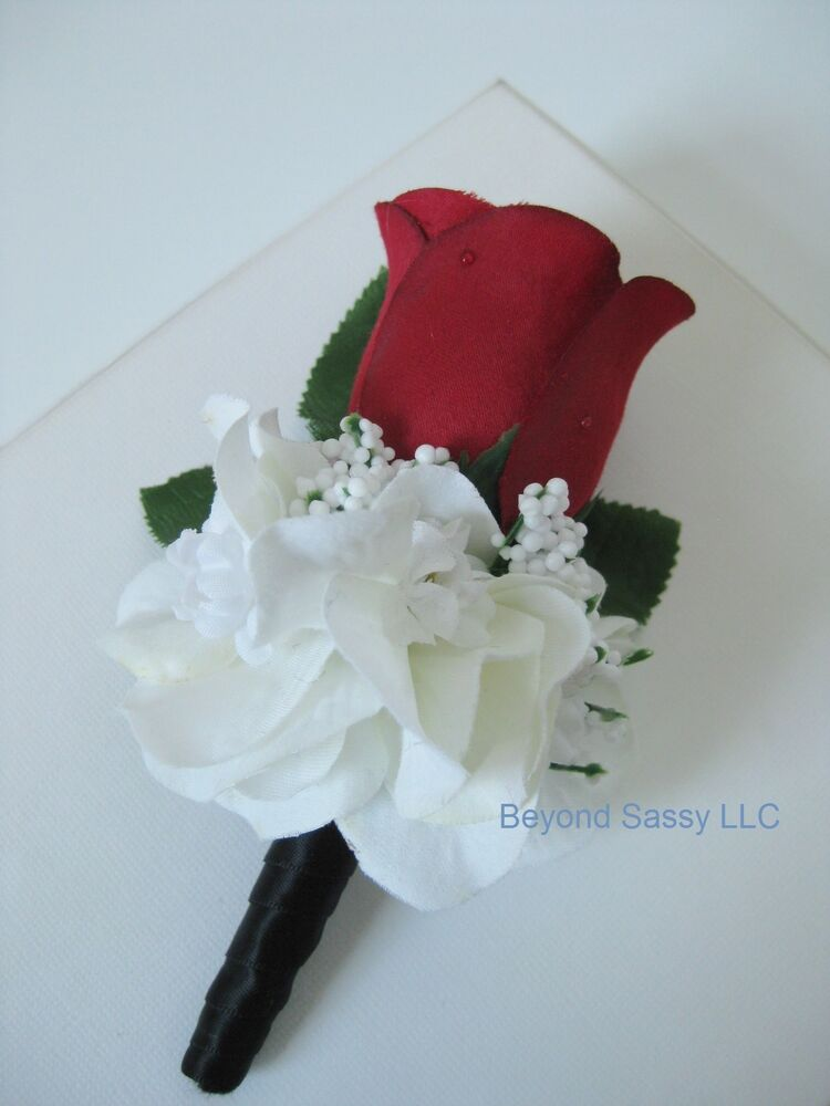 Black Wrap Stem Dewdrop Red Rose Bud Flower Boutonniere