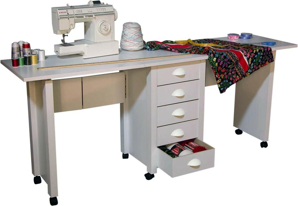 double folding mobile desk / wheels sewing craft table sewing