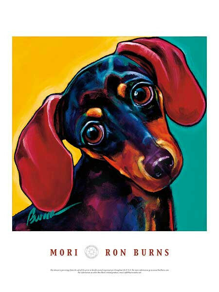 Dachshund dog art print poster mori by ron burns 18x24 for Dog painting artist