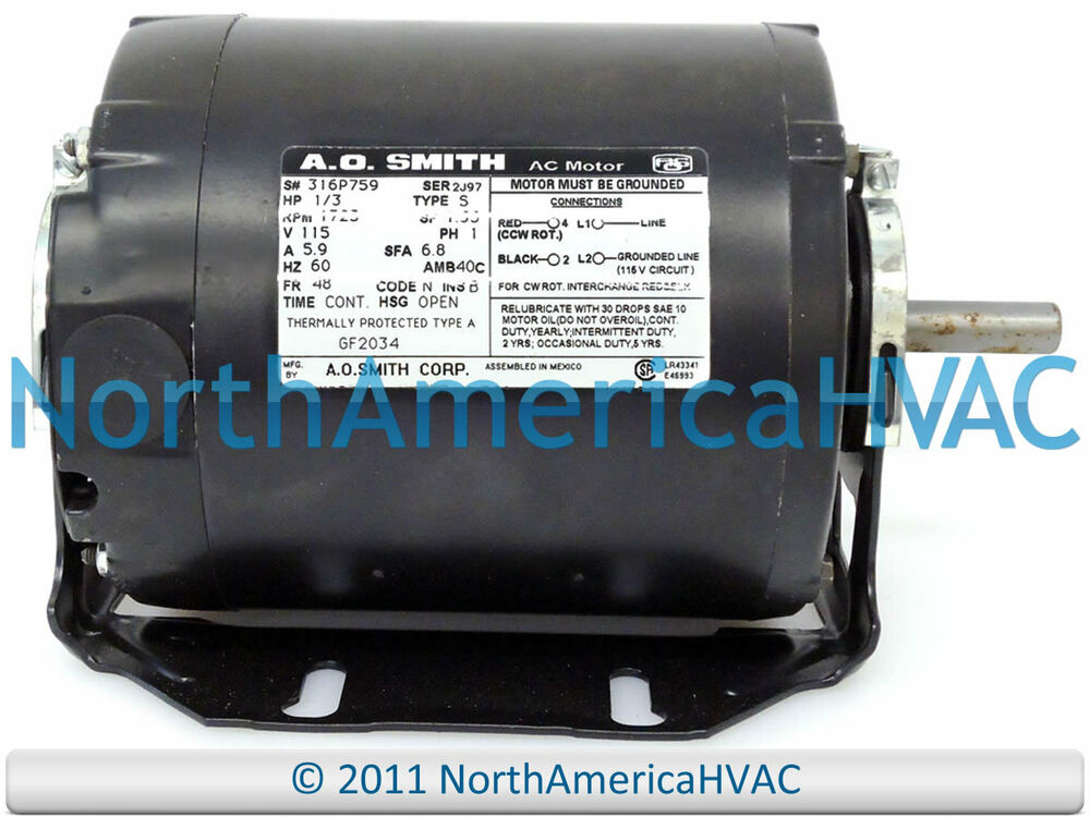 A o smith blower motor 1 3 hp 115 volt 1725 rpm gf2034 for 1 3 hp motor