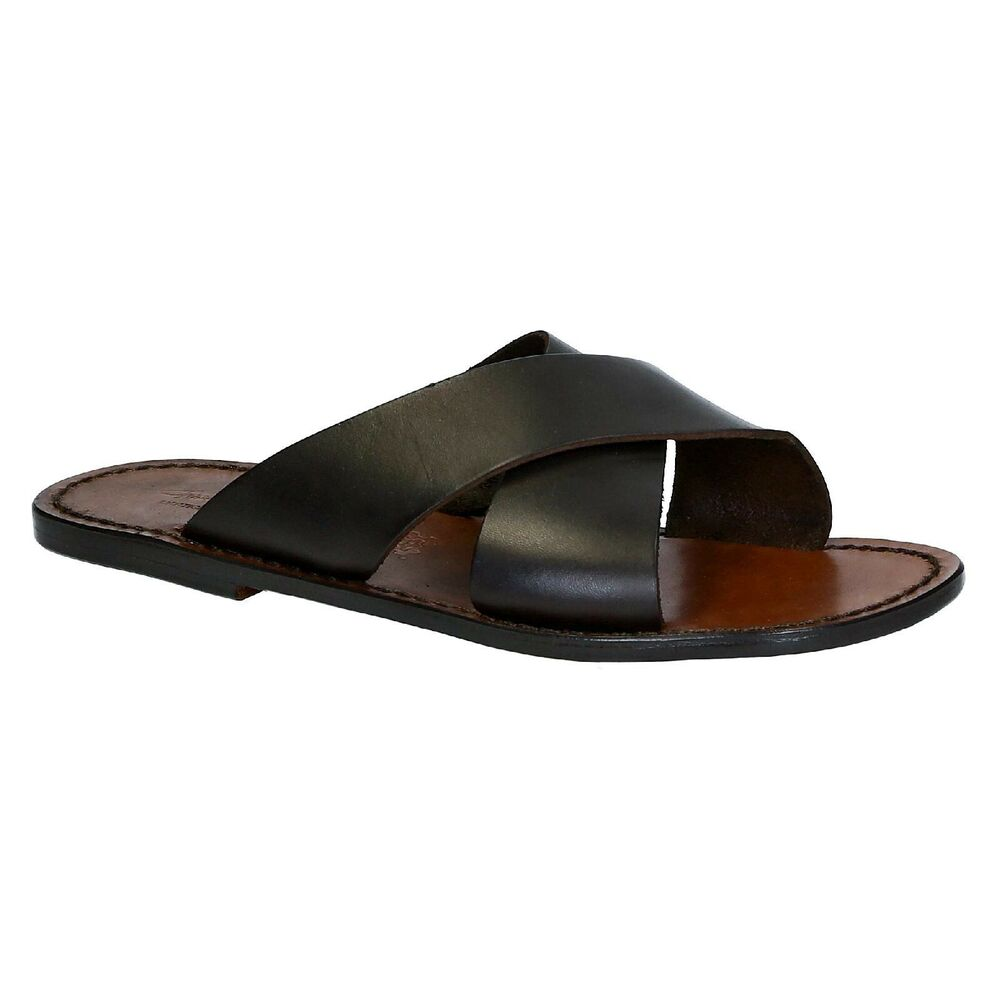 Mens Leather Slippers Sandals In Dark Brown Leather