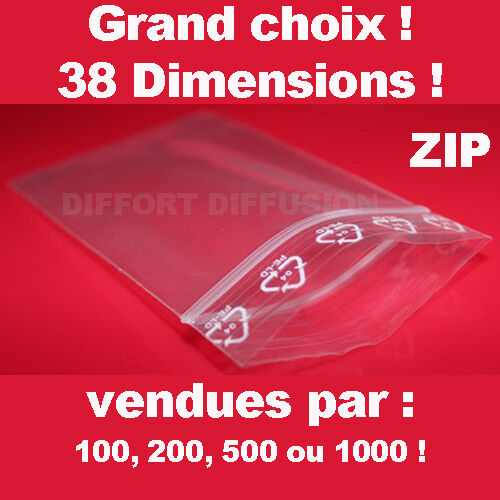 Lot de Sachet plastique fermeture ZIP Transparent bag pochon Pochette pression