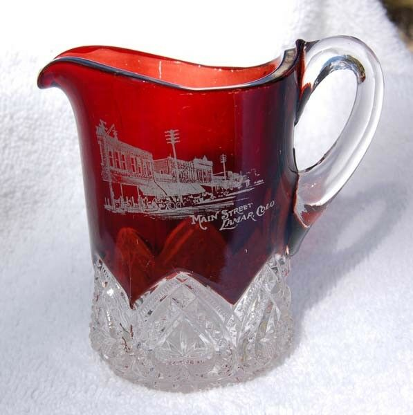 Antique LAMAR COLORADO Ruby Red Glass pitcher w/ pic MAIN ...