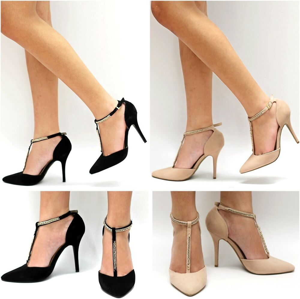New Women BMo Black Nude Beige T-Strap Gold Chain Pointy Toe ...