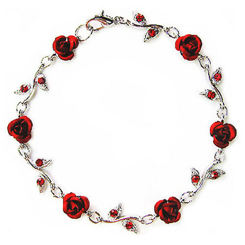 w swarovski crystal hot red rose flower floral bridal wedding bracelet xmas gift ebay. Black Bedroom Furniture Sets. Home Design Ideas