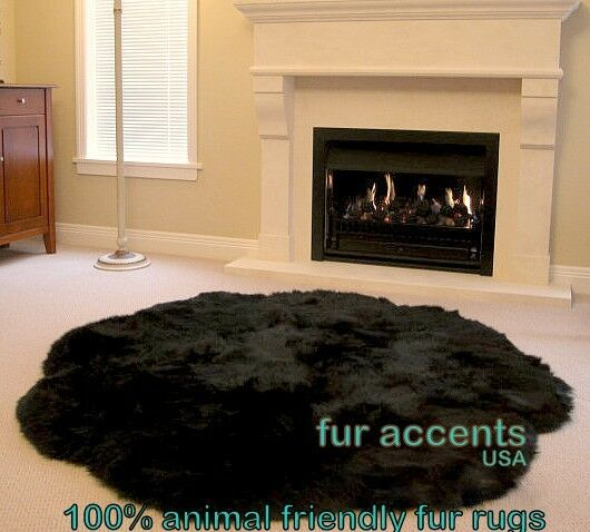FUR ACCENTS Black Shag Carpet Faux Fur Scalloped Round 5