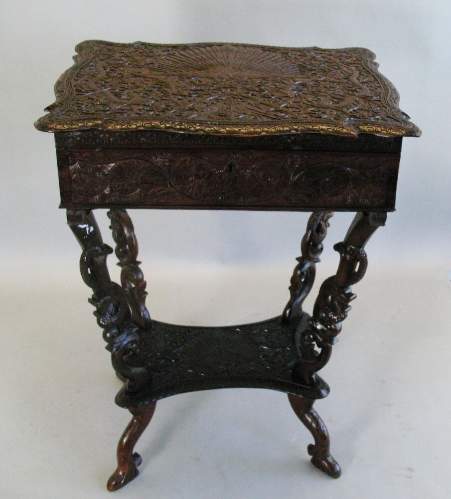 Profusely carved 19th c anglo indian carved ebony sewing for Table no border