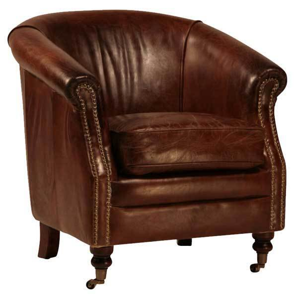 Two distressed waxed brown leather barrel club chair on for Leather kitchen chairs for sale
