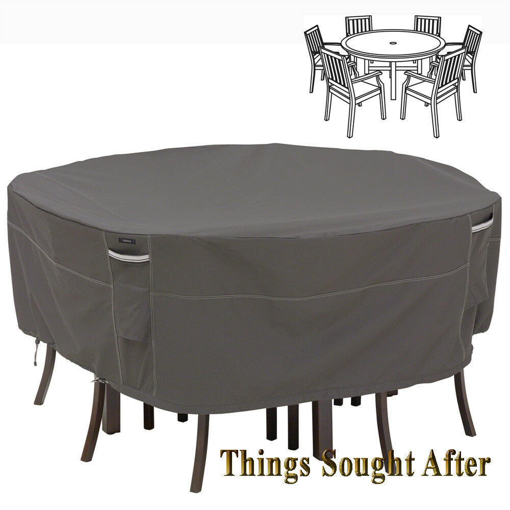 COVER for LARGE ROUND PATIO TABLE & CHAIR SET Outdoor Furniture Picnic RA