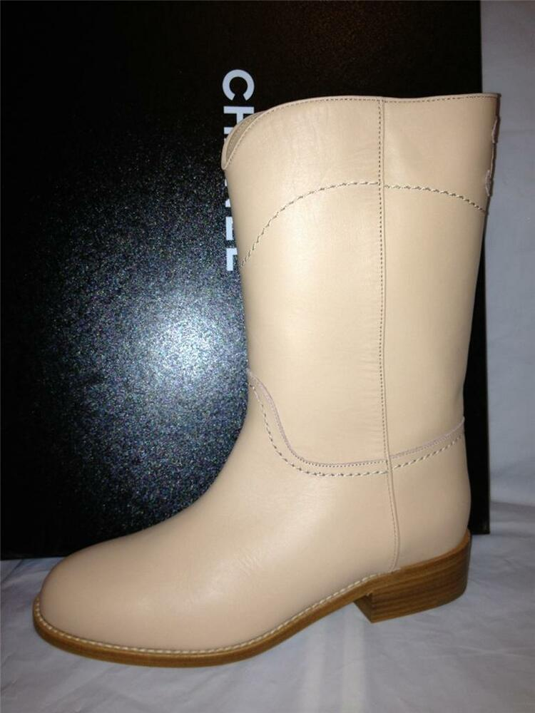 chanel 13c classic light beige leather cc logo mid calf