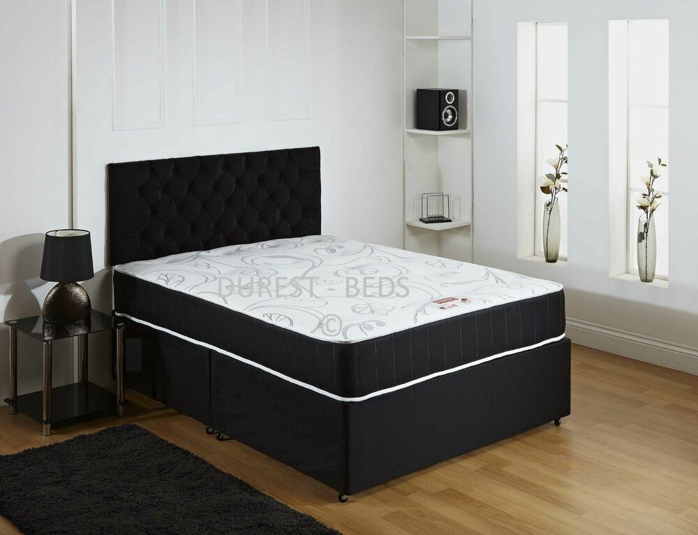 New black quilted memory divan bed sprung memory foam for Single divan bed without mattress