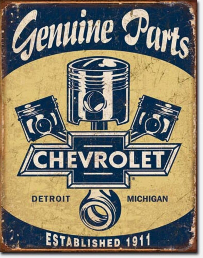Car Old Garage Signs : Chevrolet genuine parts chevy garage metal sign tin new